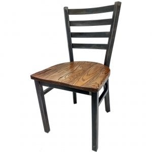 CM-234R-RW Rustic Ladderback Metal Frame Dining Chair with Reclaimed Wood Seat