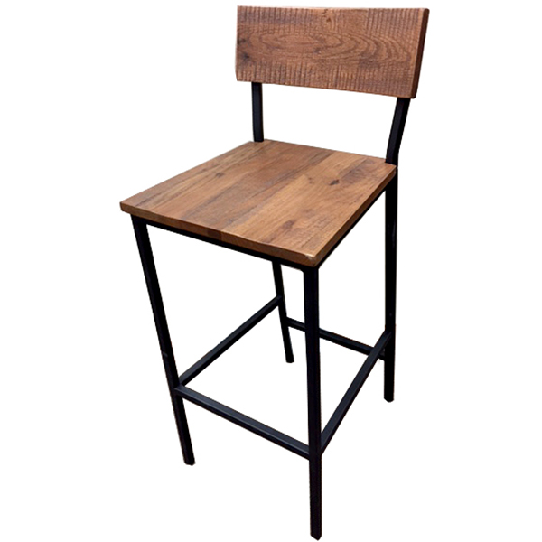 BM-W702-BLK Timber series Metal Frame - Wood Back/Wood Seat Bar Height Barstool/Bar Stool by Oak Street Manufacturing/OakStreetMfg