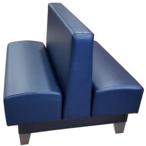 Edinburg vinyl/upholstered restaurant booth with dove gray stained wooden legs and navy vinyl