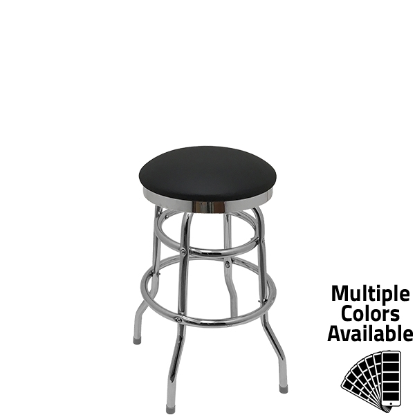 SL1131 BLK Slimline Button Top with Black Vinyl and Double Rung Chrome Metal Swivel Frame
