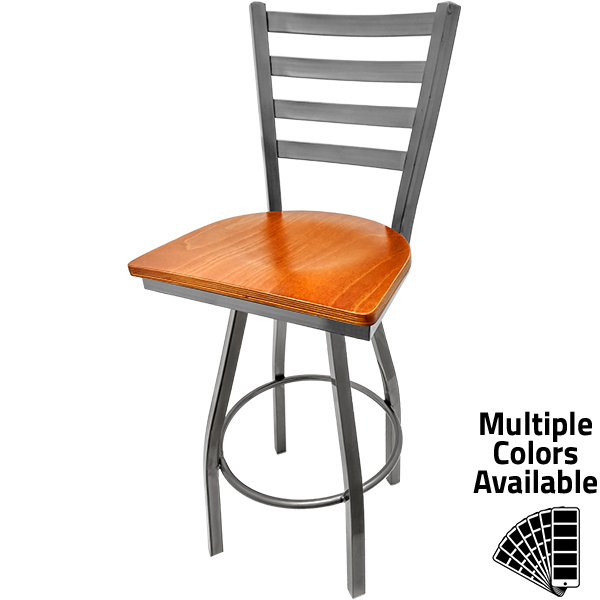 SL135C1S C Clear Coat Ladderback Barstool with Cherry stain Wood Seat and Clear Coat Swivel Frame