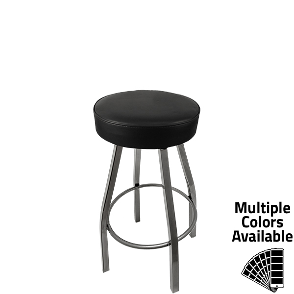 SL3132 CCS BLK XL Button Top Barstool with Black Vinyl and Clear Coat Swivel Frame