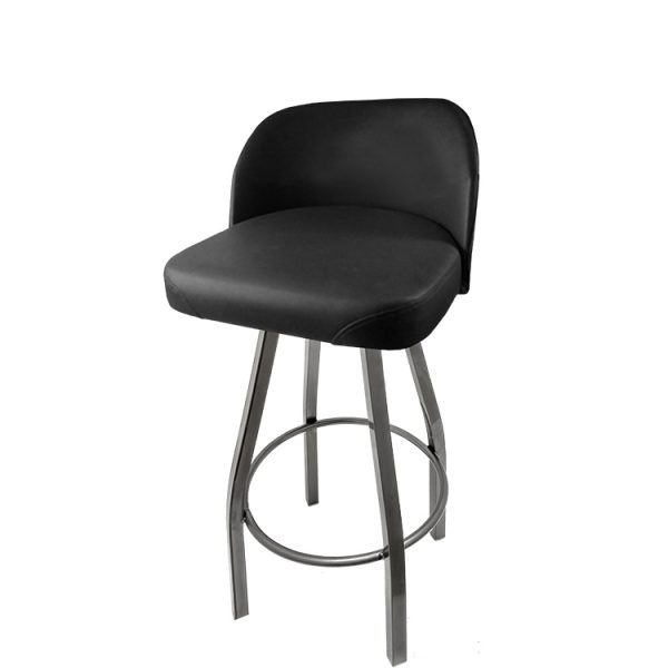 SL4136 CCS Short Stack Bucket Barstool with Clear Coat Swivel Frame 1