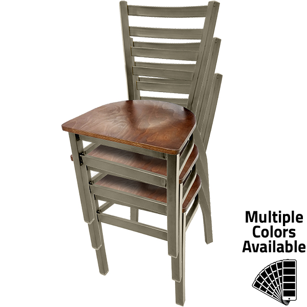 ST2160 CCS Clear Coat Stackable Ladderback Metal Frame Chair stacked 1